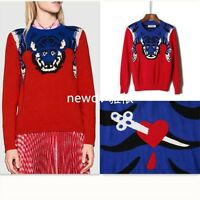 Women Designer Inspired Runway Embroidered Sequence wool  Knitwear Jumper