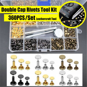 360pcs Double Cap Rivets Leather Craft Accessories Snap Fasteners Buttons Copper