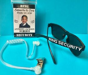 RING SECURITY 3 PC. SET - BADGE, SUNGLASSES & EARPIECE - PERSONALIZED FREE