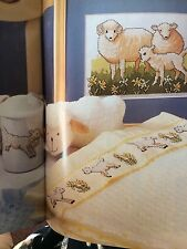 Baby Room Cot Blanket, Lamb Picture, Sipper Cup Cross Stitch Charts Cotton Guide