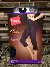NEW HANES SHAPING CAPRI PANTS FIRM CONTROL WOMENS LARGE BLACK TUMMY CONTROL