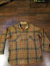 Vintage Pendleton Gold Red Navy Plaid Wool Button Shirt Mens Size XL