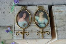 PAIR vintage italian 1970 Medaillon lady portrait wall coat rack hangers brass