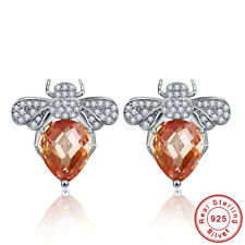 Insect Oval Cut Morganite& White Topaz 100% S925 Sterling Silver Stud Earrings