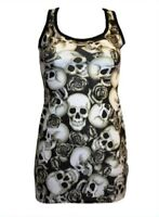 BLACK & WHITE SKULLS ROSES SHADED TATTOO PRINT LONG VEST TANK TOP GOTH PUNK EMO