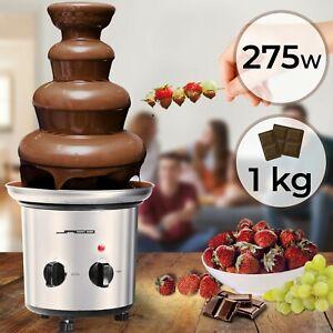 Jago® Schokoladenbrunnen 275W Edelstahl Schokobrunnen Schokofondue Schokofontäne
