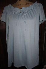NWT French Laundry Blue Poly Knit Peasant Top w/ Drawstring Neckline - Size M