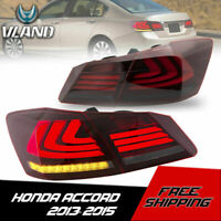 VLAND LED Tail Lights Red Smoked Rear Brake Lamps For 2013-2015 Honda Accord