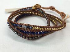 "NEW CHAN LUU Blue LAPIS Silver Beaded Seed Leather 3 Wrap Bracelet 23"" $220"