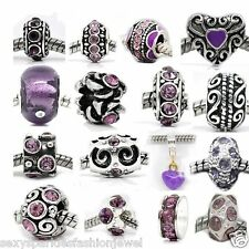 Ten Purple Charms Spacers for Snake Chain Charm Bracelet-104 purple mix