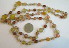 Linked Necklace Glass Beads Long Strand Vintage Flapper Style Pink & Amber Chain