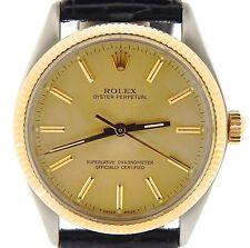 Hombre Rolex 14K Oro Amarillo / Acero Inoxidable Oyster Perpetual Negro Champán