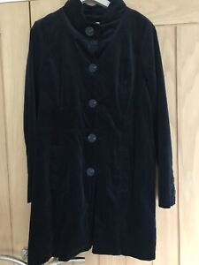 WHITE STUFF NAVY VELVET SMART COAT SIZE 12