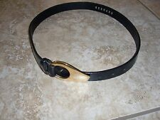 Belt Made in USA~EXPRESS~Black Leather~Gold Buckle Made in ITALY~Belt  size M.