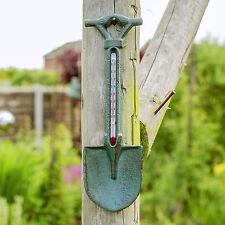Outdoor Garden Wall Thermometer Ornament Verdigris Cast Iron Spade Shovel