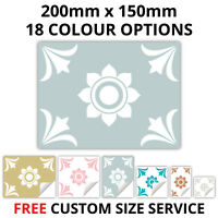 Tile Stickers For Kitchen Bathroom 200mm x 150mm 18 Colours - Custom sizes - T19