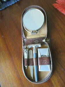 Vintage Shaving Travel /  England Leather Kit