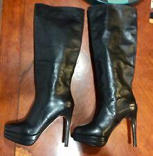 Maxstudio Apres  KneeHigh leather stiletto Boots Size 9 1/2 M Black