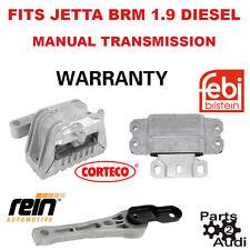 Motor Manual Transmission Mount Mounts Set kit 3pcs VW Jetta BRM Eng 1.9 Diesel