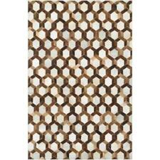 "Couristan Chalet Spectrum Cowhide Leather Area Rug  Brown Ivory  3'4"" x 5'4 $539"