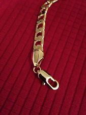 High Quality 18K Gold Plated Bracelet Charm Curb Chain Unisex Luxury link 7mm
