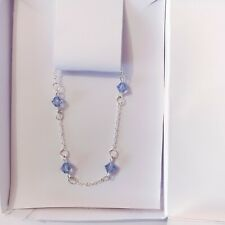 Light Blue Sapphire Crystal 925 Sterling Silver Chain Bracelet For Women Jewelry