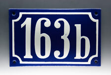 EMAILLE, EMAIL-HAUSNUMMER 163b in BLAU/WEISS um 1955