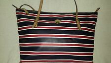 TOMMY HILFIGER monogram TH LOGO red white blue stripe LARGE tote bag  damaged