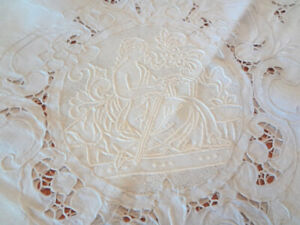 Stunning Early Vintage Italian Linen Hand Embroidered Figural Tablecloth