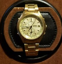 SEIKO 7T32-7C60 Alarm Chronograph Quartz Watch Gold Rare Mens Great Cal. 7T32