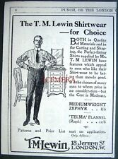 1913 T M LEWIN 'Zephyr' & 'Telma Flannel' Shirts ADVERT - Small Antique Print Ad