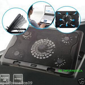 SUPPORTO PORTATILE NOTEBOOK CON 5 VENTOLE RAFFREDDAMENTO ARIA DISSIPATORE  PC