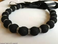 Lanvin Paris Black Fabric Bead Ribbon Designer Necklace Rhinestones