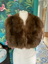 Vintage Beautiful Brown Real Fur Stole Cape Medium
