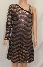 Sara Sara The Collection Bling Girls Dress Sz 16 One Shoulder Brown Sequins NWT