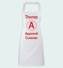 Tablier de Cuisine Apprenti Cuisinier avec prénom personnalisé Humour débutant