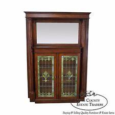 Antique Arts & Crafts Oak Leaded Glass Bookcase Mantel w/ Mirror
