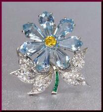 Beautiful Fancy Aquamarine, Round Citrine, Emerald & CZ 17.76 TCW Flower Brooch