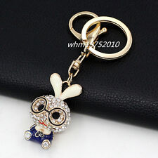 Cute Bunny Key Chain Glasses Rabbit Crystal Pendant Charm Bag Purse Keyring