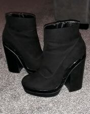 HARDLY WORN Size 5 Ladies RIVER ISLAND Chunky Black Ankle Boots High Block Heel