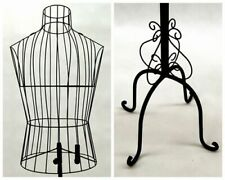 Adult Male Black Metal Wire Dress Form Torso Display with Vintage Antique Height