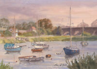 John A. Case - Signed Contemporary Watercolour, Estuary Boats