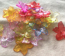 20x Transparent LUCITE acrylic flower beads 26mm ASSORTED COLOUR mix (LTF26)