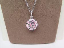 New w/Box Pandora Breast Cancer Pendant w/ 80 CM Chain #390326EN24-80 FREE CLOTH