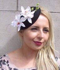Black White Orchid Flower Pillbox Hat Fascinator Races Rockabilly Vintage 3121