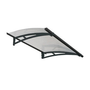 Fixed Canopy Awning 59.3 in. x 36 in. Door/Window Clear Panel Aluminum Gray