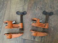 """Set of 2 Vintage Pony 3/4"""" Pipe Clamps Deep Throat Tools Woodworking USA"""