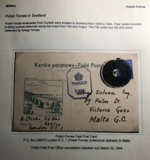 1944 Polish Forces In Scotland Postcard Censored Cancellation Cover To Malta