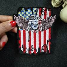 US Flag skull embroidery patch skeleton punk Badge for clothes DIY