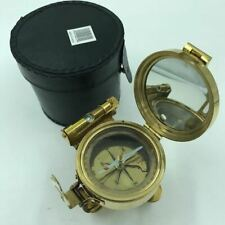 Nautical Brass Brunton Stand Compass Tripod Style with Faux Leather Case